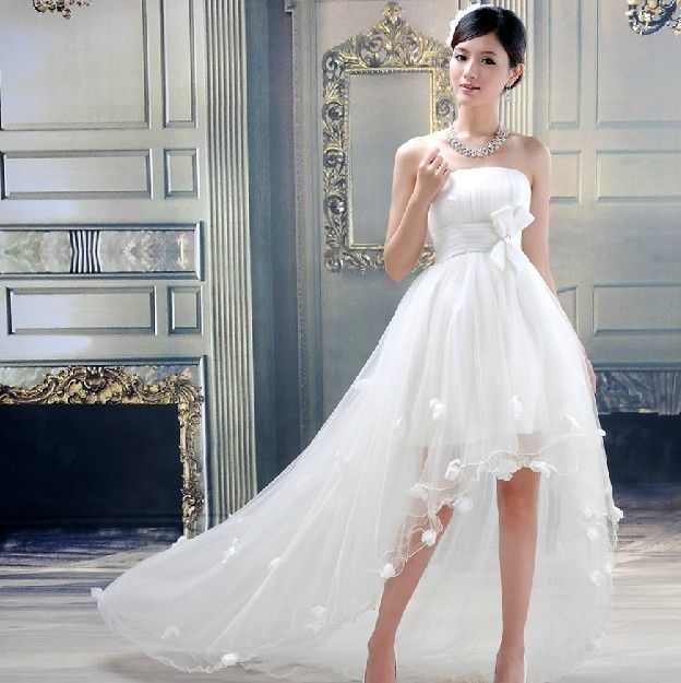 Other 2017 New White Strapless Flower Long After Before The Short Tail Wedding Dress Dinodirect