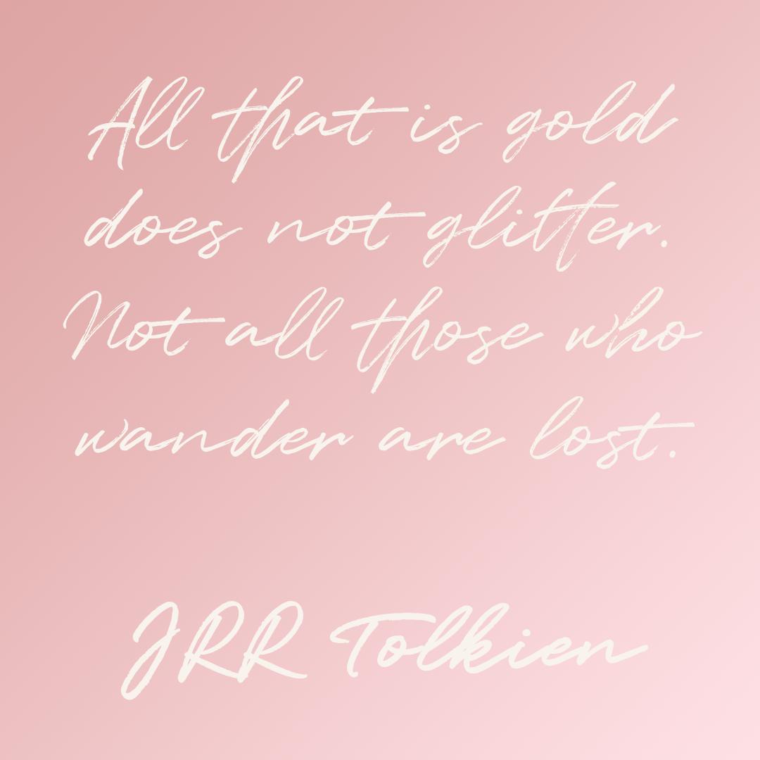 JRR Tolkien rose pink minimalist quote design
