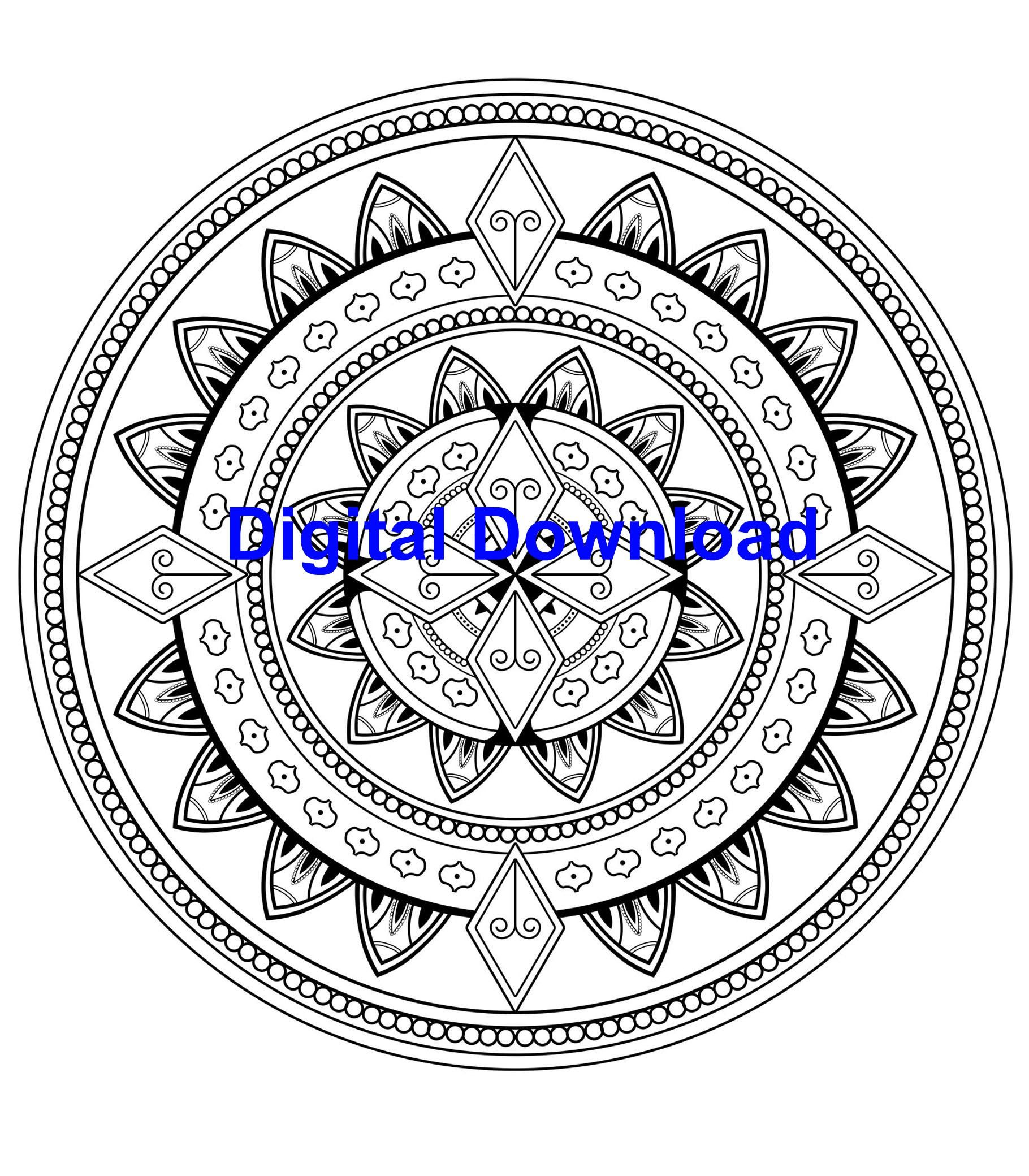 Art Therapy Printable Coloring Book Easy Mandalas Coloring Therapy