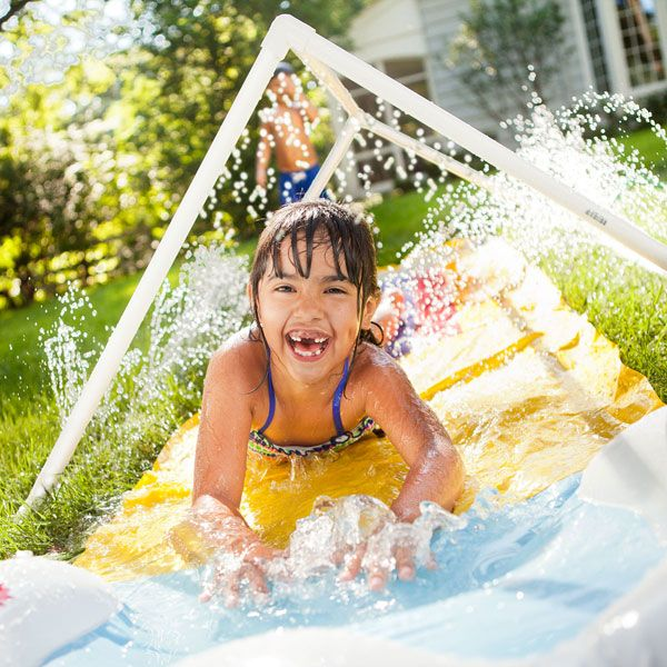 Turn your backyard into a water park with a sprinkler made from economical, easy-to-cut PVC pipe.