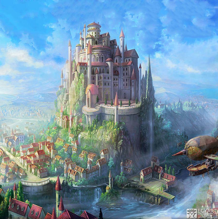 Port city on the edge of paradise | Fantasy art landscapes, Fantasy concept art, Fantasy landscape
