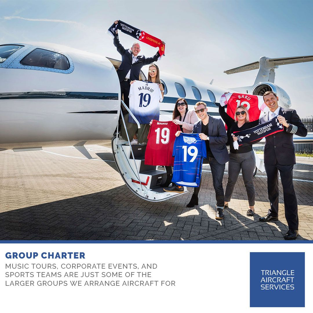 Music tours, corporate events, and sports teams are just some of the larger groups we arrange aircraft for. Whatever the reason, no matter how large a group, our goal is to ensure that you are teamed with the perfect aircraft managed by the perfect operator to fulfill your group charter requirements.  For more information please call +44 (0) 20 8033 4155  #TriangleAircraftServices #TriangleAircraft #AircraftServices #GroupCharter #MusicTours #CorporateEvents #SportsTeams
