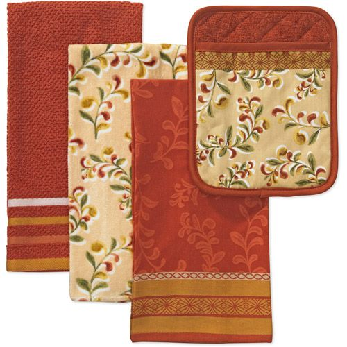 Better Homes And Gardens 4 Piece Kitchen Towel And Pot Holder Set Tuscan Kitchen Towel Sets