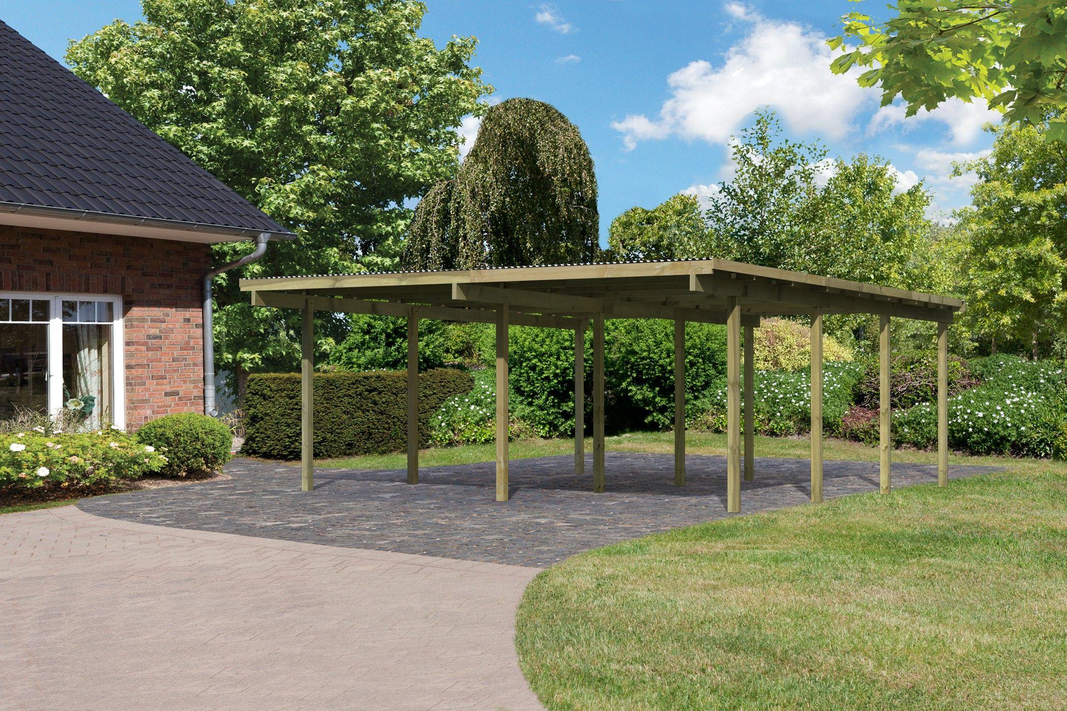 Carport Prix carport 2 places en bois eco(2) 527 × 576 cm cm karibu