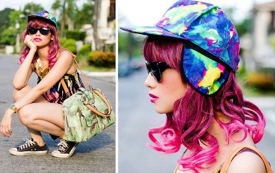Enchanted Kingdom Tie Dye Cap With Ear Flaps, Parfois Camo Bag, Landmark Tie Dye Tank