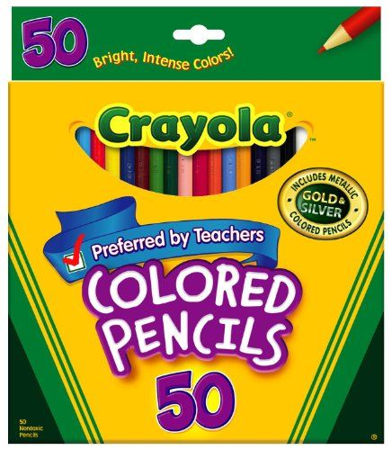 Crayola Colored Pencils Great for Adult Coloring Books 50 Cts Pre-Sharpened Set