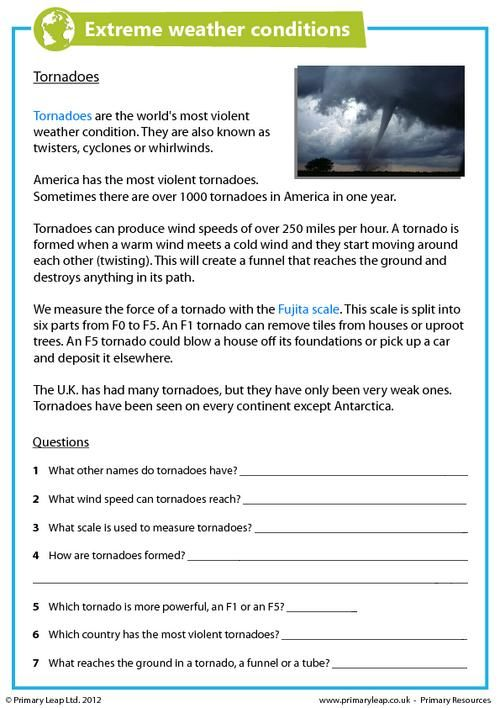 PrimaryLeap.co.uk - Extreme Weather Conditions - Tornadoes Worksheet ...
