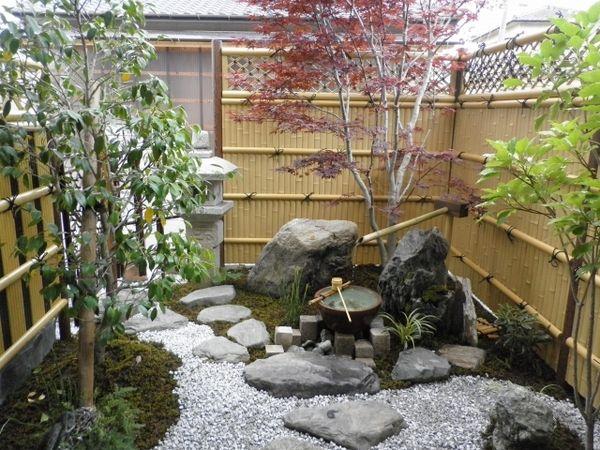 Japanese garden design ideas patio design bamboo fence garden rocks ...