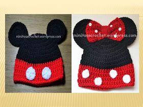 COMO HACER Gorros Mickey y Minnie Mouse TEJIDO A CROCHET  d4a0f73e36d
