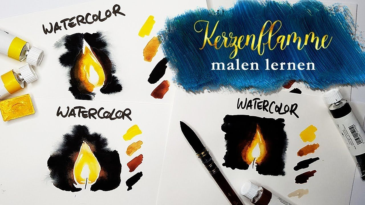 Kerze Malen Flamme Malen In Aquarell Watercolor Malanleitung