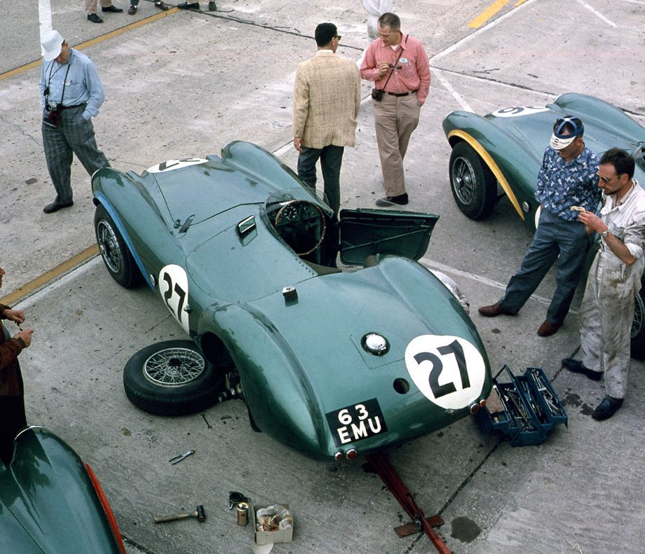 Sebring 1956 .The Shelby-Salvadori Aston Martin DB3S in the pits.