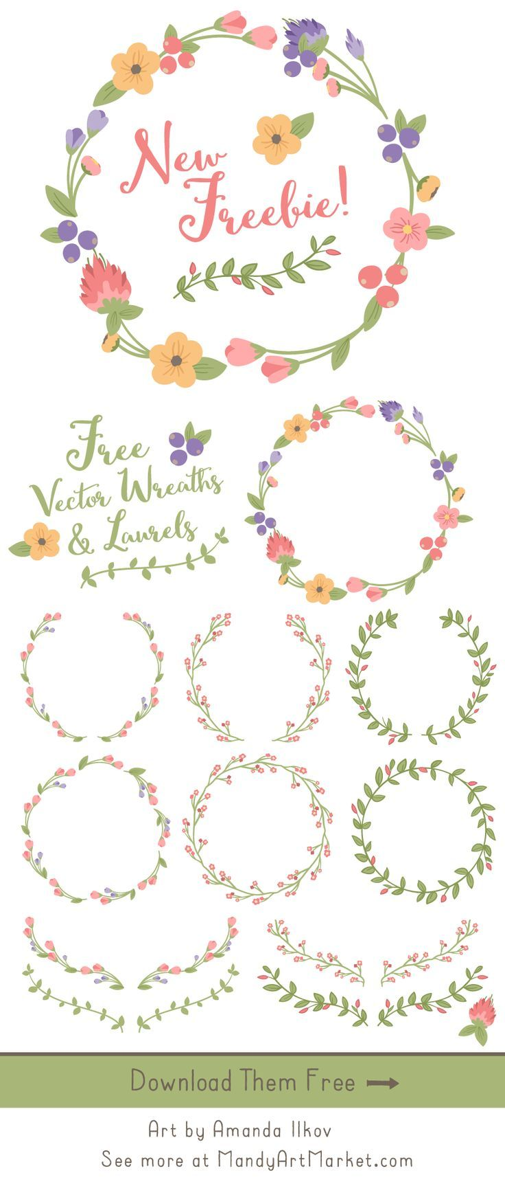 new august freebie grab these pretty vector wreaths laurels and branches for free  [ 736 x 1723 Pixel ]