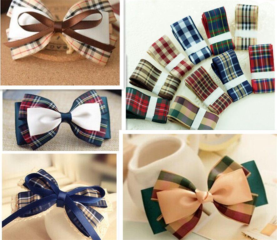 20yards Mixed Colors 1'' 25MM Check Ribbon Scottish Plaid Ribbon for Hairbows DIY Free Shipping