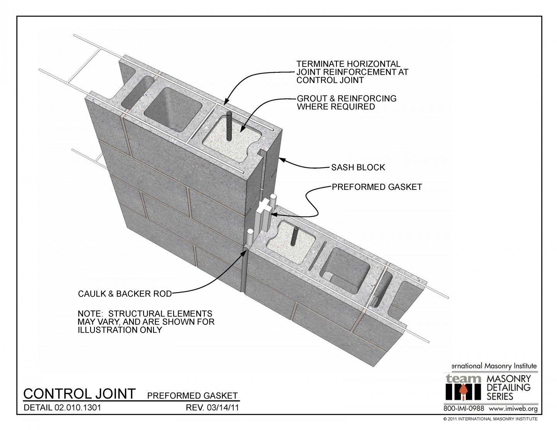 02 010 1301 Control Joint Preformed Gasket Masonry Wall Precast Concrete Fiberglass Insulation