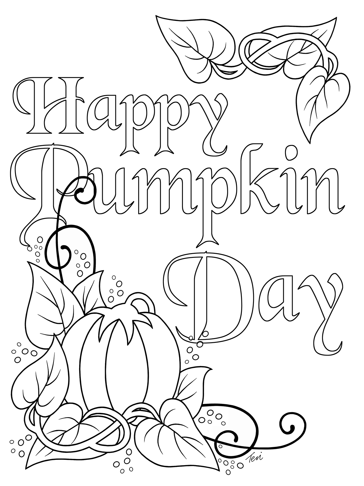 Free Adult Coloring Book Page Happy #Pumpkin Day by Blue Star ...