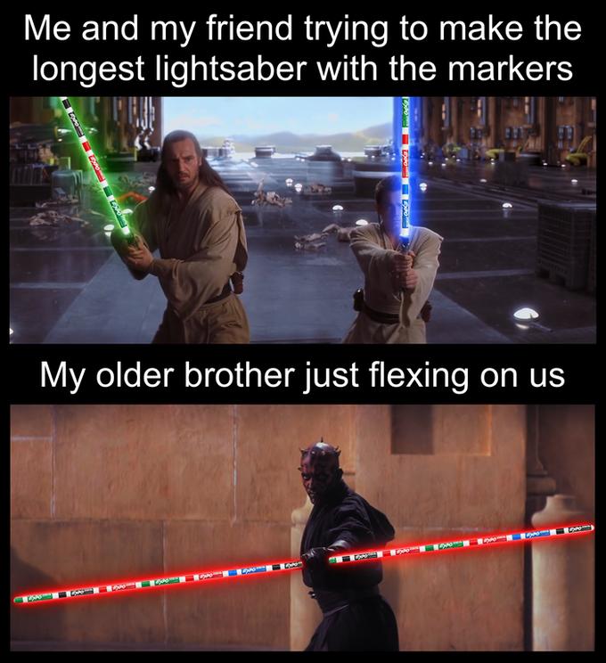 The Best Darth Maul S Double Sided Lightsaber Memes Funny Star Wars Memes Star Wars Jokes Star Wars Humor