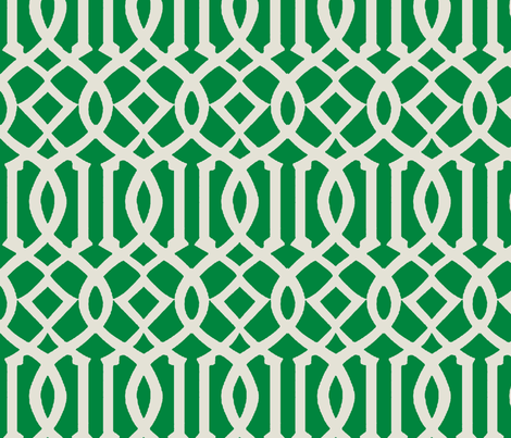Imperial Trellis-Kelly Green-Large fabric by melberry on