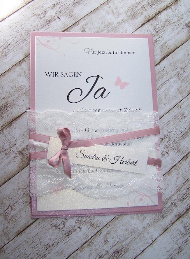 Einladung Hochzeit Breite Spitze Altrosa