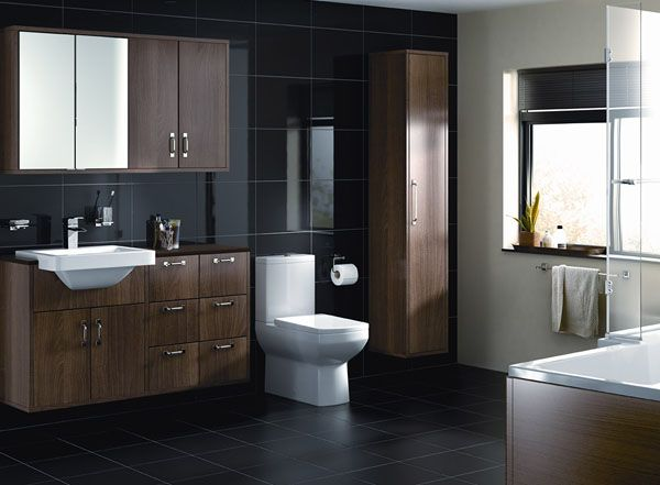 Carrelage de salle de bain comment bien choisir son sol - Carrelage noir brillant salle de bain ...