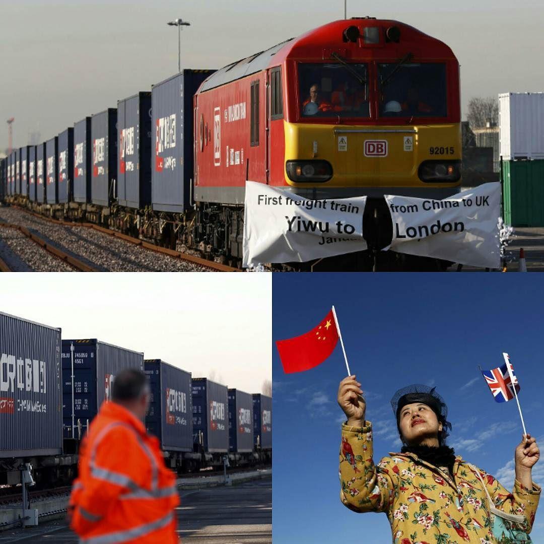 مرالقطارمن الصين عبركازاخستان وروسيا وبيلاروسيا وبولنداوألمانيا وبلجيكا وفرنسا قبل وصوله إلى لندن عبر نفق بحر المانش حاملا 68 حاوية بضائع London China Train
