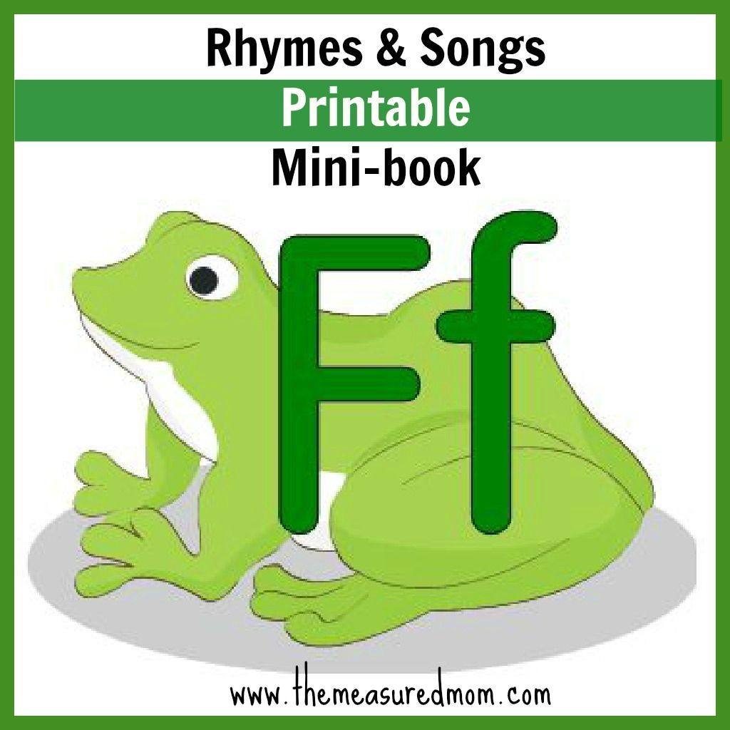 Letter F minibook: Rhymes & Songs | F ... is for Alphabet ...