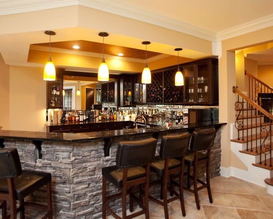 kitchen/bar right at bottom of stairs basement +renovation +