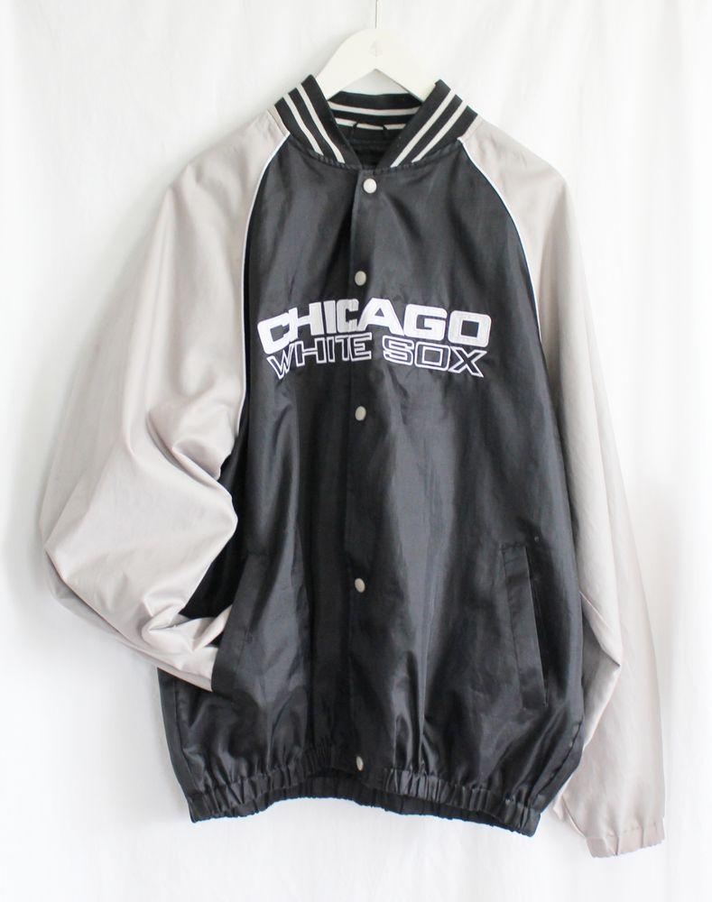 vtg chicago white sox jacket large black silver general