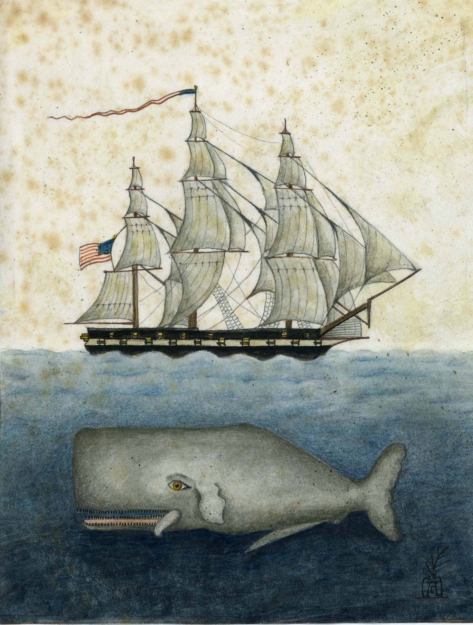 The Voyagers By Anne Childs Thymerose Loves More Vintage Inspired Elegance At Thymerose Co Uk Folk Art Whale Folk Art Painting Art