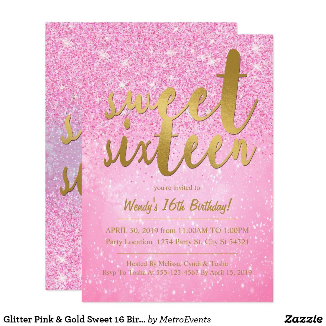 Glitter Pink & Gold Sweet 16 Birthday Invitations Glitter Pink ...