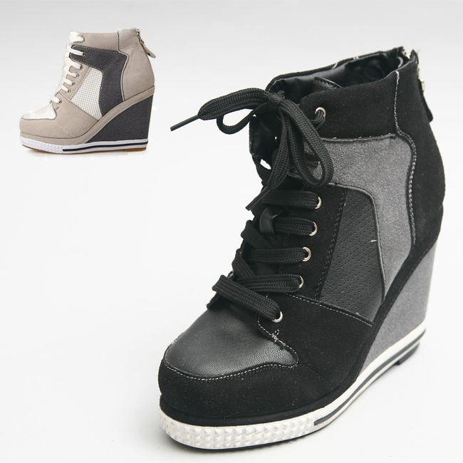 5a7dced249d1 Womens Hightop Lace Up Hidden Heel Sneakers Women High Top Wedge Shoes No  707