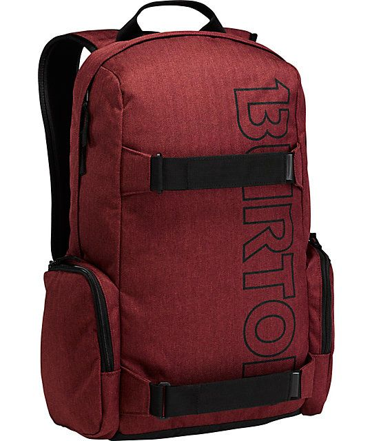 Take your important things everywhere with Emphasis backpack from Burton. This all dark sangria red skate pack features tough polyethylene foam construction, vertical skate carry and a large main compartment for all your gear. With a large Burton script o