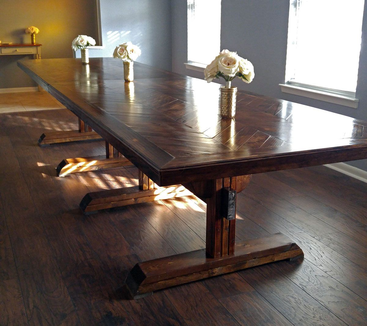 Ana White Dining Room Table: Pedestal Table Herringbone Top - DIY Projects