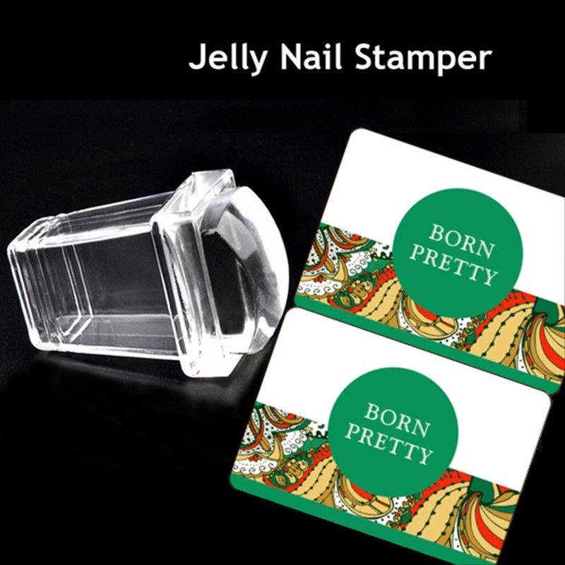 3 Pcs/ensemble Clair Silicone Gelée Stamper Rectangulaire Nail Art Stamper avec Cap & 2 Grattoirs