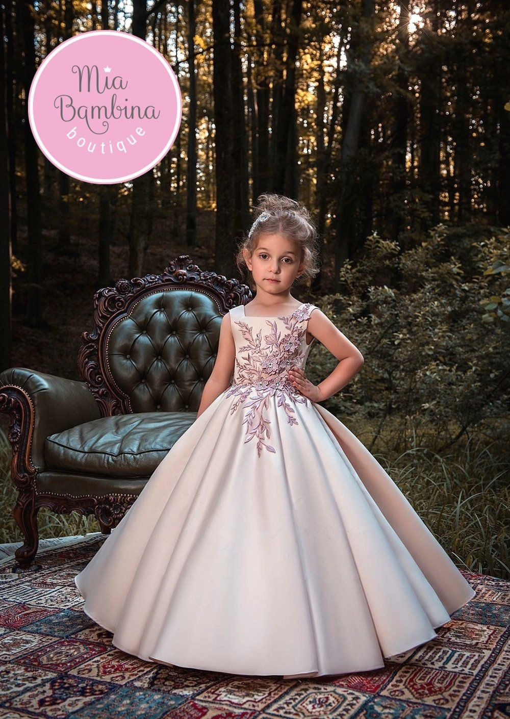 9921c34b16d The Parma Flower Girl Dress For Wedding by MB Boutique Canada. This  beautiful satin ball gown features squared neckline and floral lace  appliques ...
