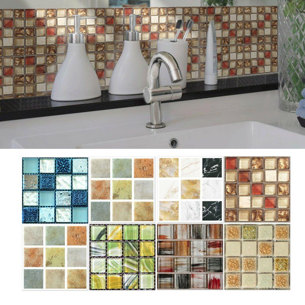 20pcs Self Adhesive Tile Floor Wall Decal Sticker Diy Kitchen