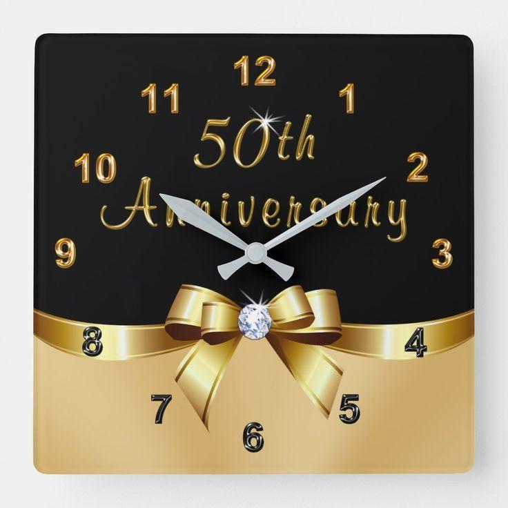 Black and gold 50th anniversary presents clock zazzle