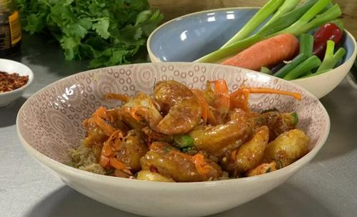 James Martin crispy fried shrimps with orange and caramel ...