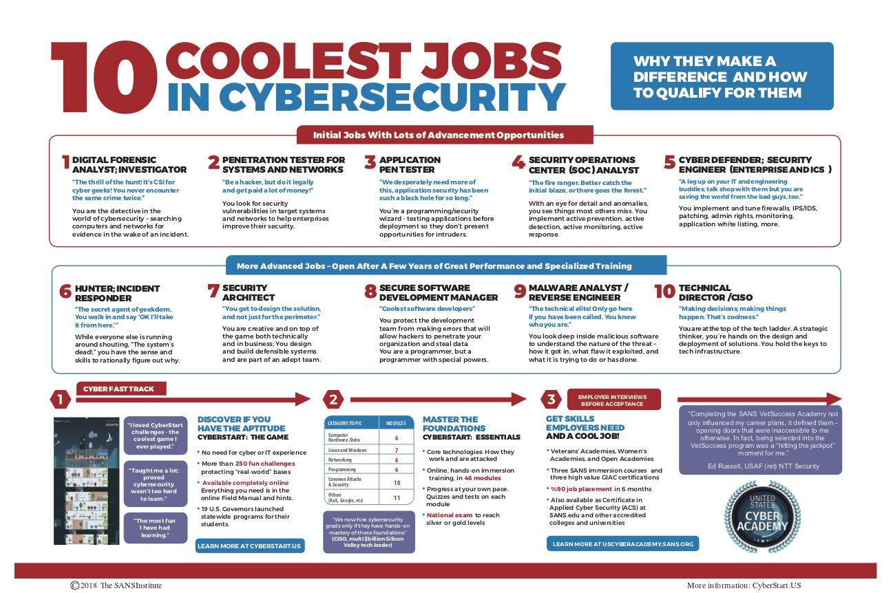 10 Coolest Jobs Cyber Security Cybersecurity Infographic Cyber Awareness