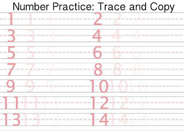 Number Writing Practice Sheets Printable #1