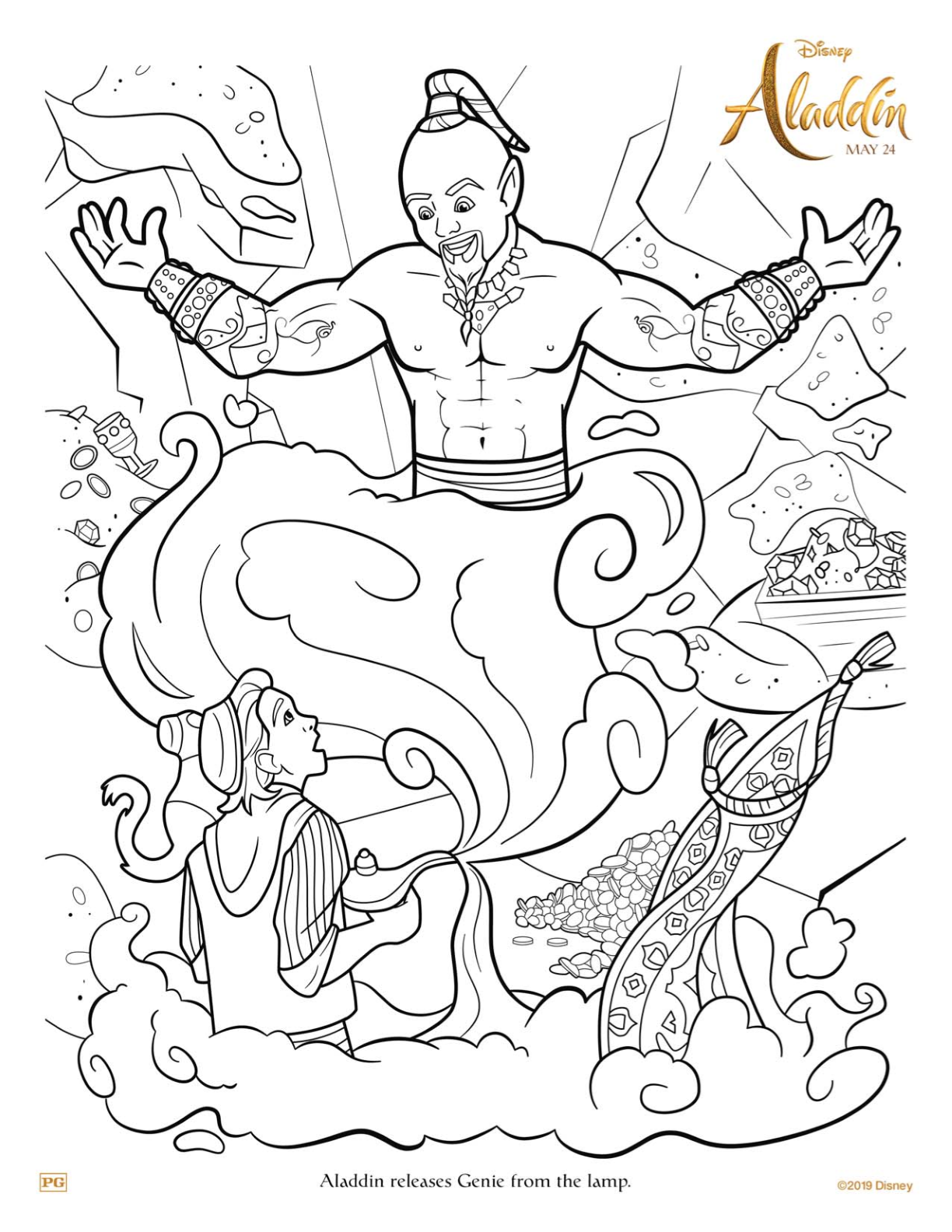 Free Printable Disney Aladdin And Genie Coloring Page Aladdin Disney Freeprintable Geni Disney Coloring Pages Disney Coloring Sheets Mermaid Coloring Pages
