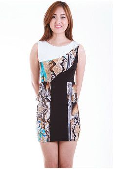 Griselda Abstract Peplum Sheath Dress