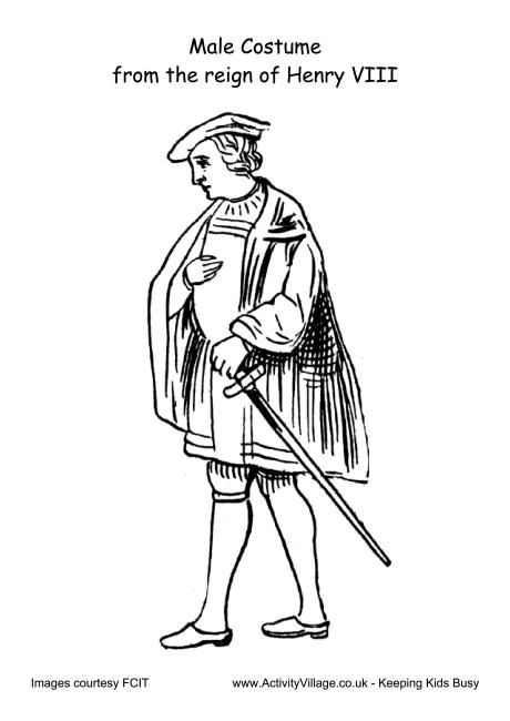 Male Costume Reign Of Henry VIII Colouring Page Oktouse
