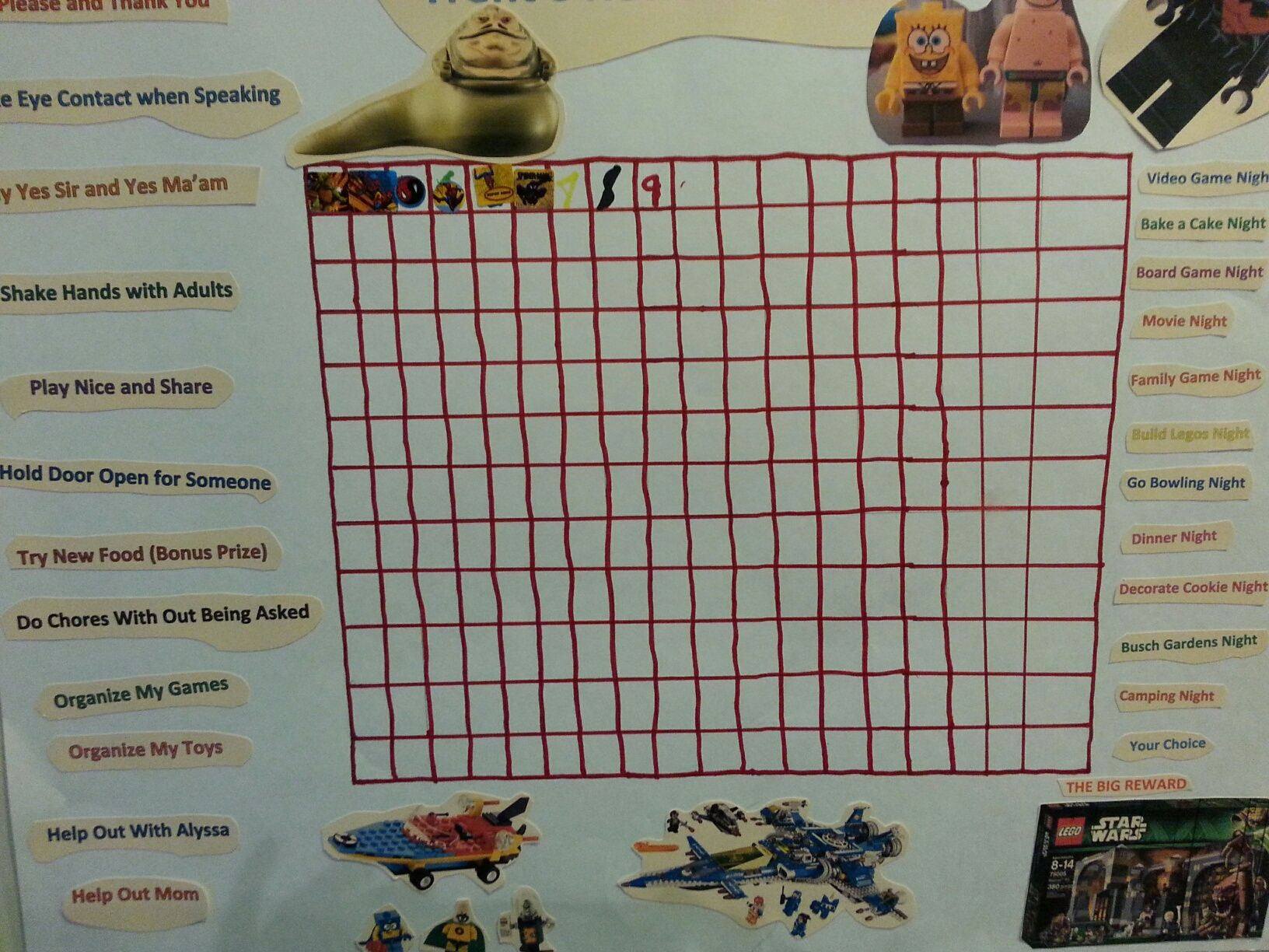 Reward chart that allows at the end of each row completed with stickers, there is a family time reward. He can receive stickers for doing any of the items on the left hand side. At the very end he is rewarded with a Lego set that he glued at the end. He joined in in helping make this which was a lot of fun. This has really been something fun for us to look forward to.