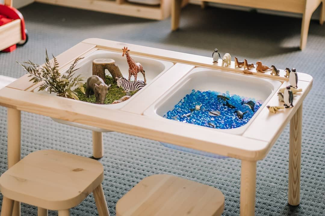 What better way to teach Elijah about land animals vs sea animals than a  hands on demonstration? Using the Ikea … | Toddler toy storage, Ikea table,  Ikea kids table