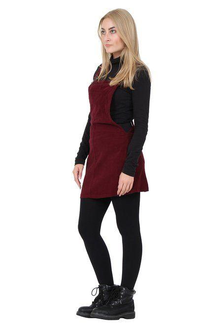 93e392b92c Corduroy Dungaree Dress lightweight burgundy Bib overall skirt ...