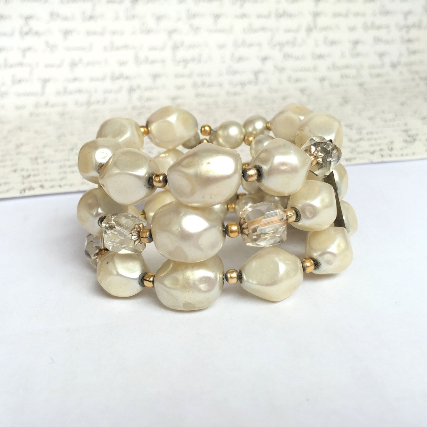 Chunky Pearl Bracelet Expandable Vintage Statement Ivory Cream Old Bridal Jewelry By Fem