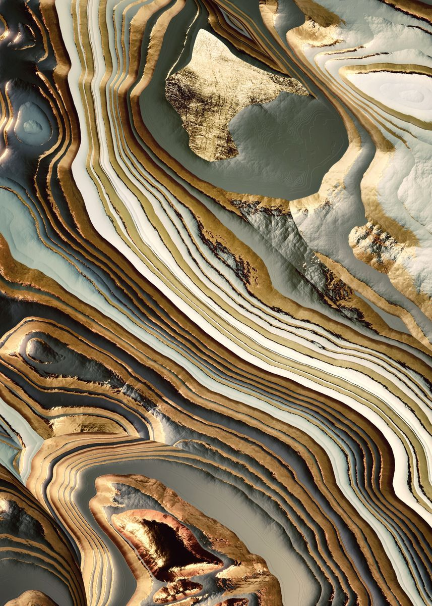 White Gold Agate Abstract