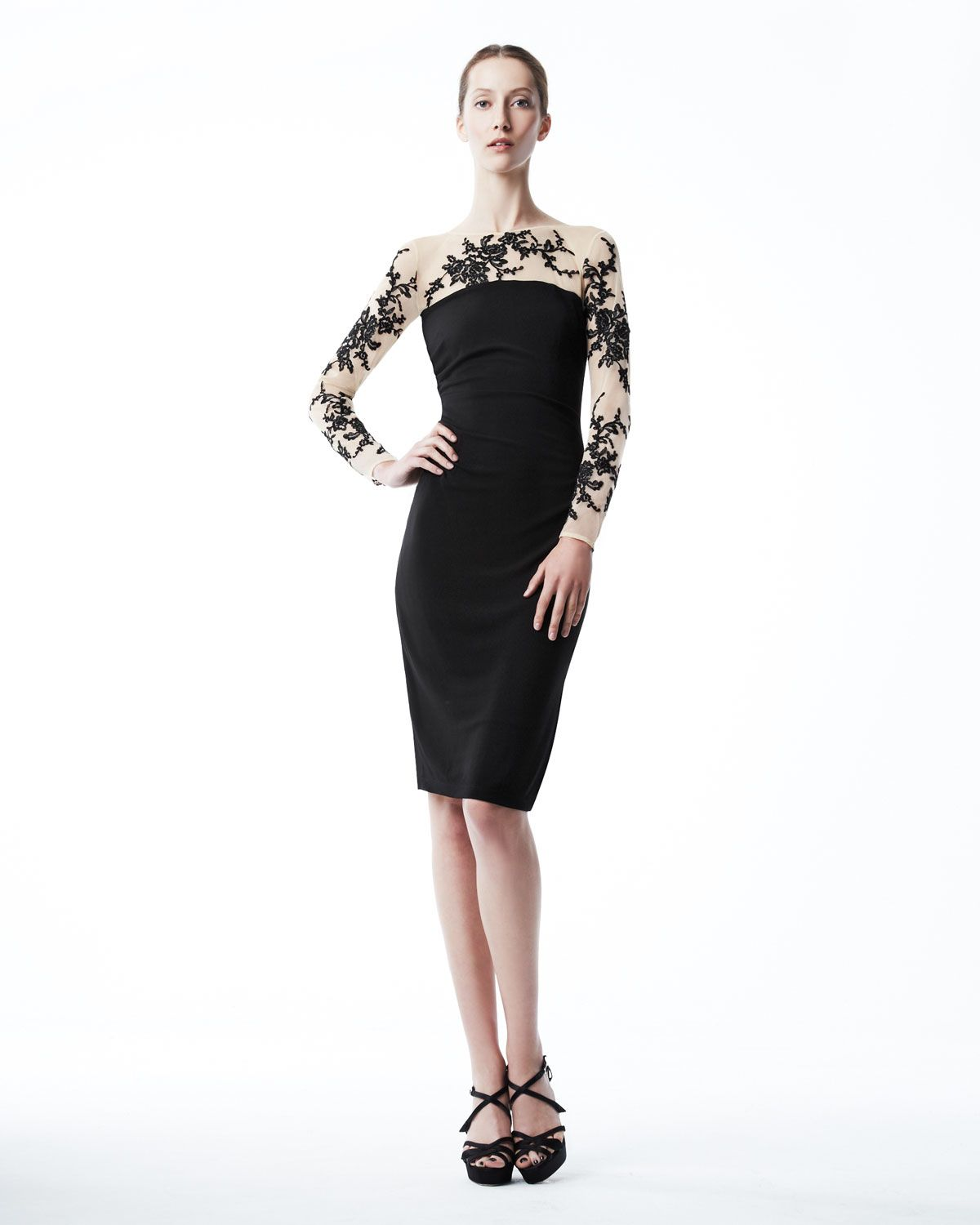 babb3a08212d4 David meister Embroidered Jersey Dress in Black - Save 45%