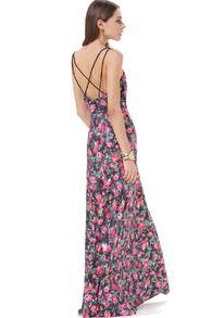 Maxi robe fendue motif floral à bretelles