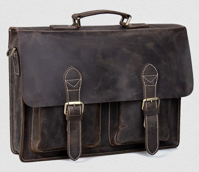 a880edf2a0f Vintage Handmade Crazy Horse Leather Briefcase   Messenger Bag -- with a  Laptop   MacBook Sleeve This handmade leather bag is made .